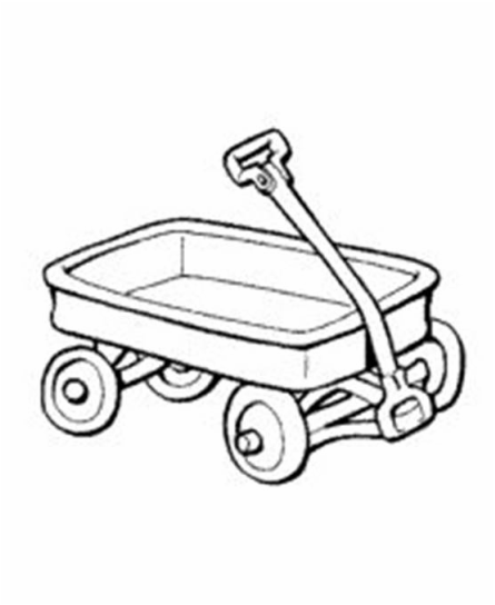 Black wagon. Book and white clipart