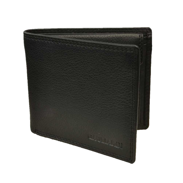 Transparent wallet leather. Black with coin pouch