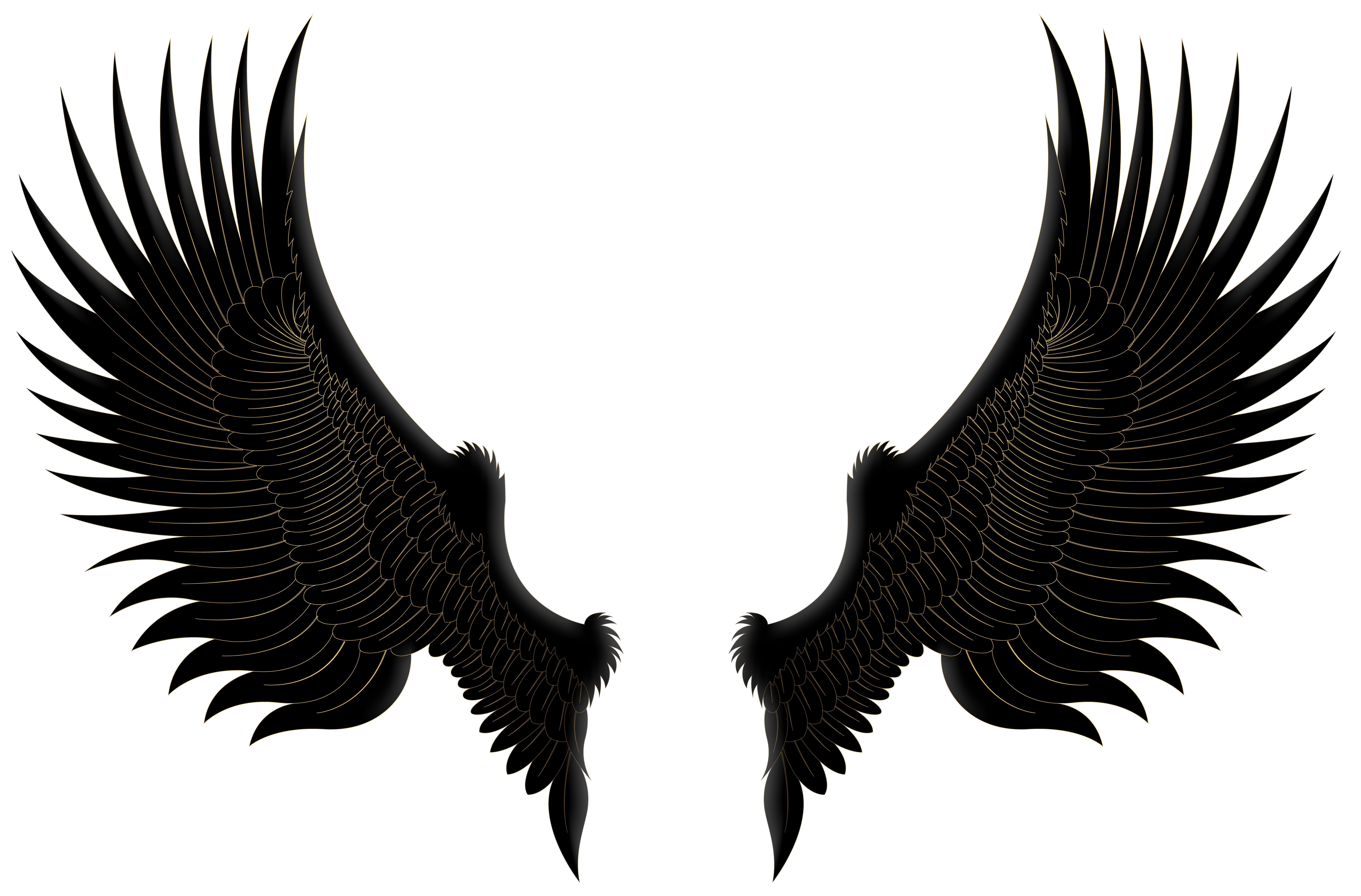Cartoon wing png. Black gold wings clip