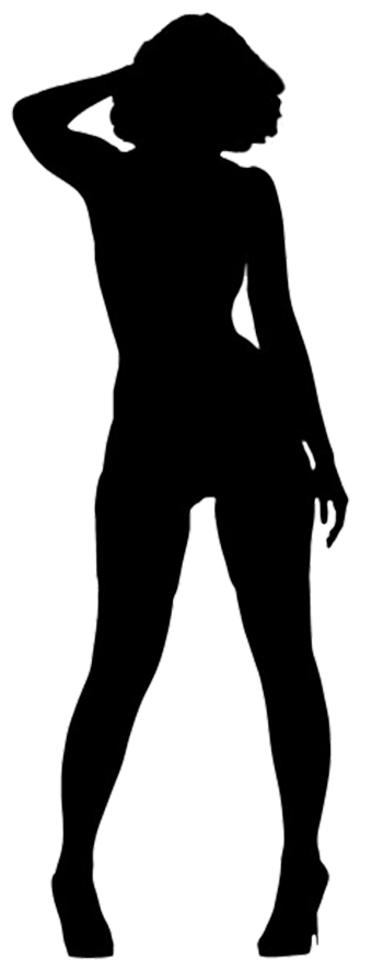 Thick girl png. Silhouette of a black
