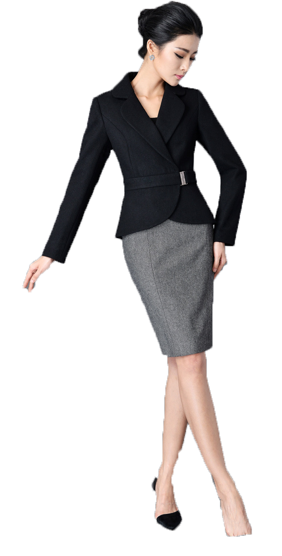 Black woman standing png. Suit white collar worker