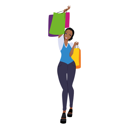 Black woman standing png. Shopping transparent svg vector