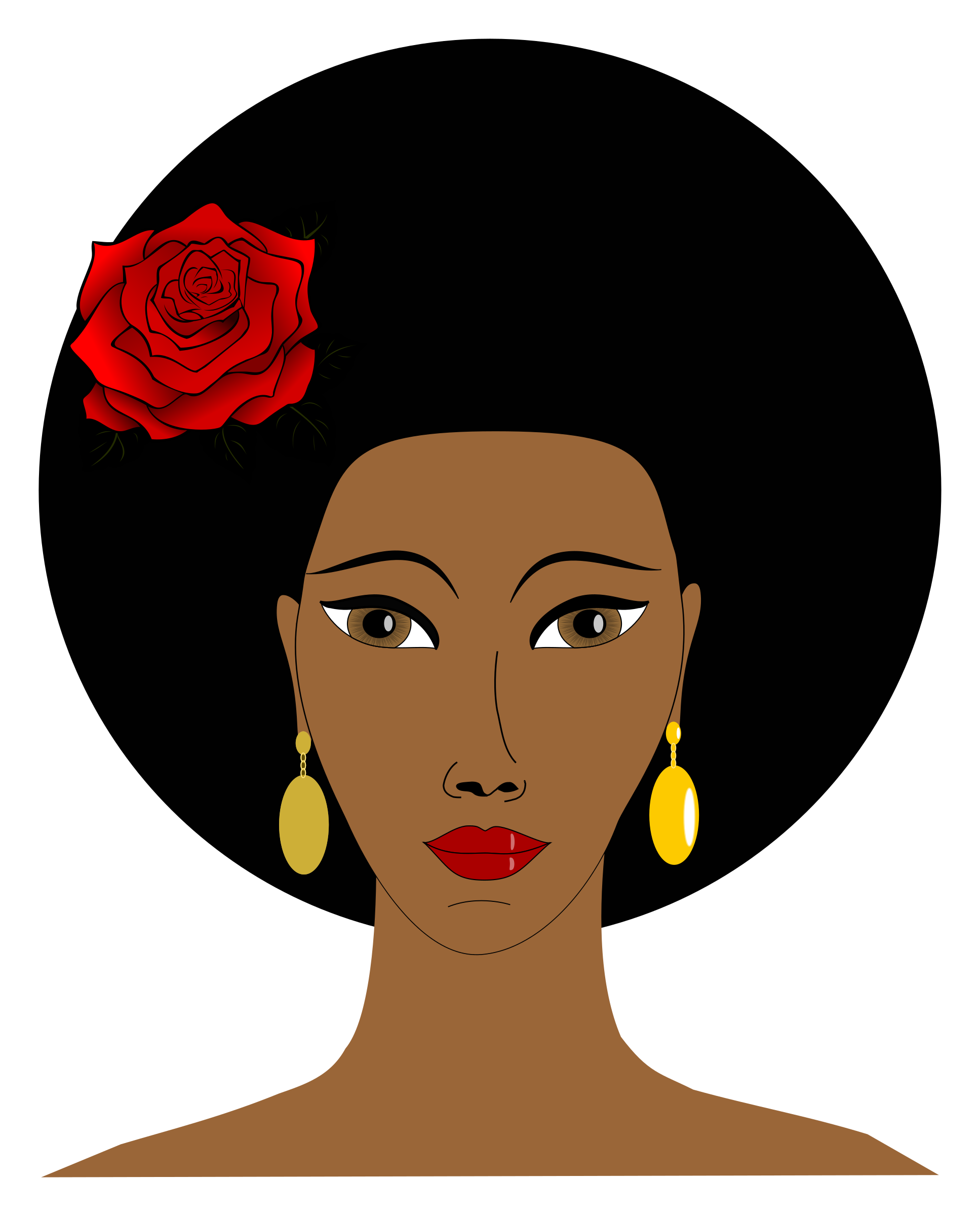 Black woman png. With a rose icons