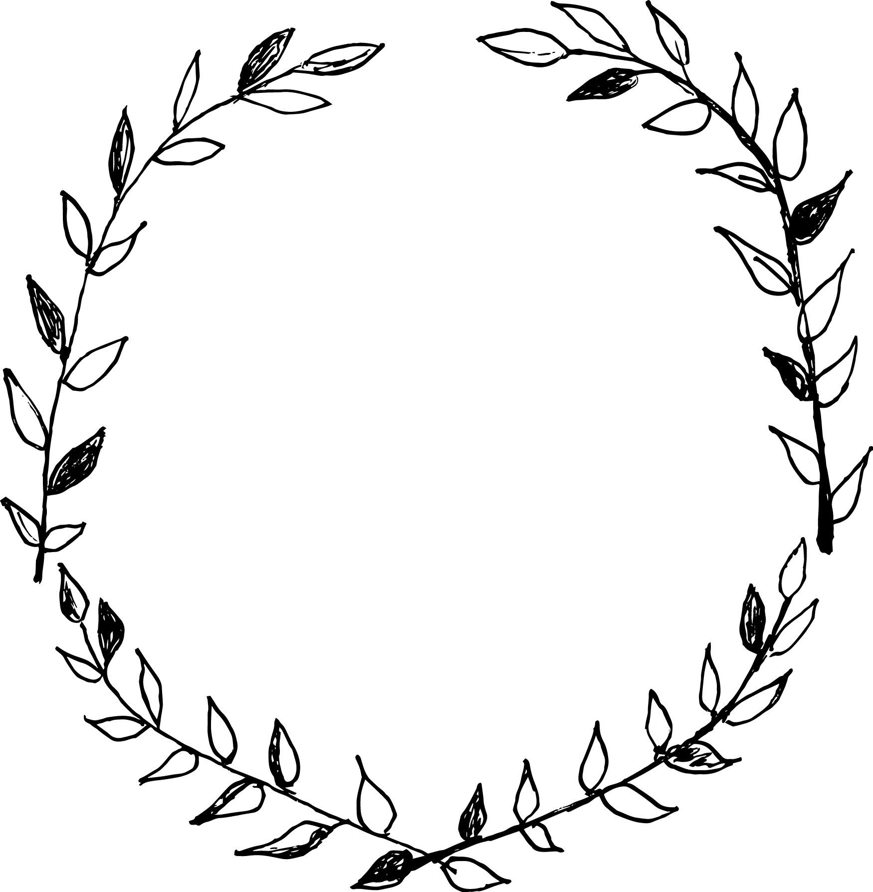 Laurel drawing. Wreath clip art black
