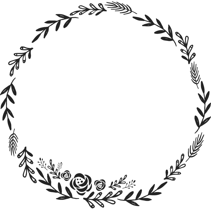 Circle stamp png. Floral wreath rubber border