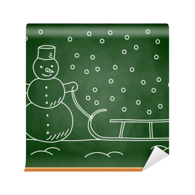 Blackboard drawing. Of snowman and sled