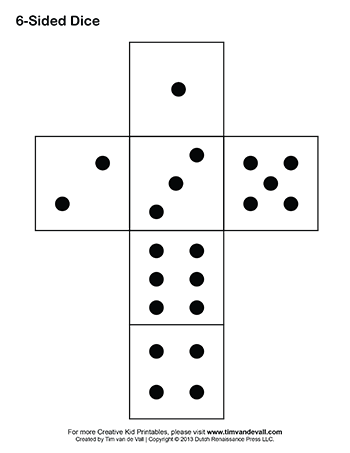 Drawing dice six dot. Printable paper template pdf