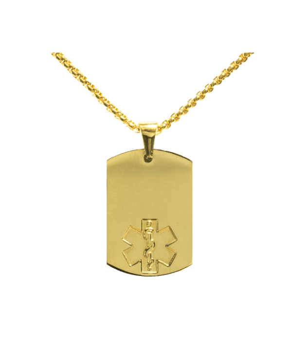 Blank dog tag png. Bright gold styles medical