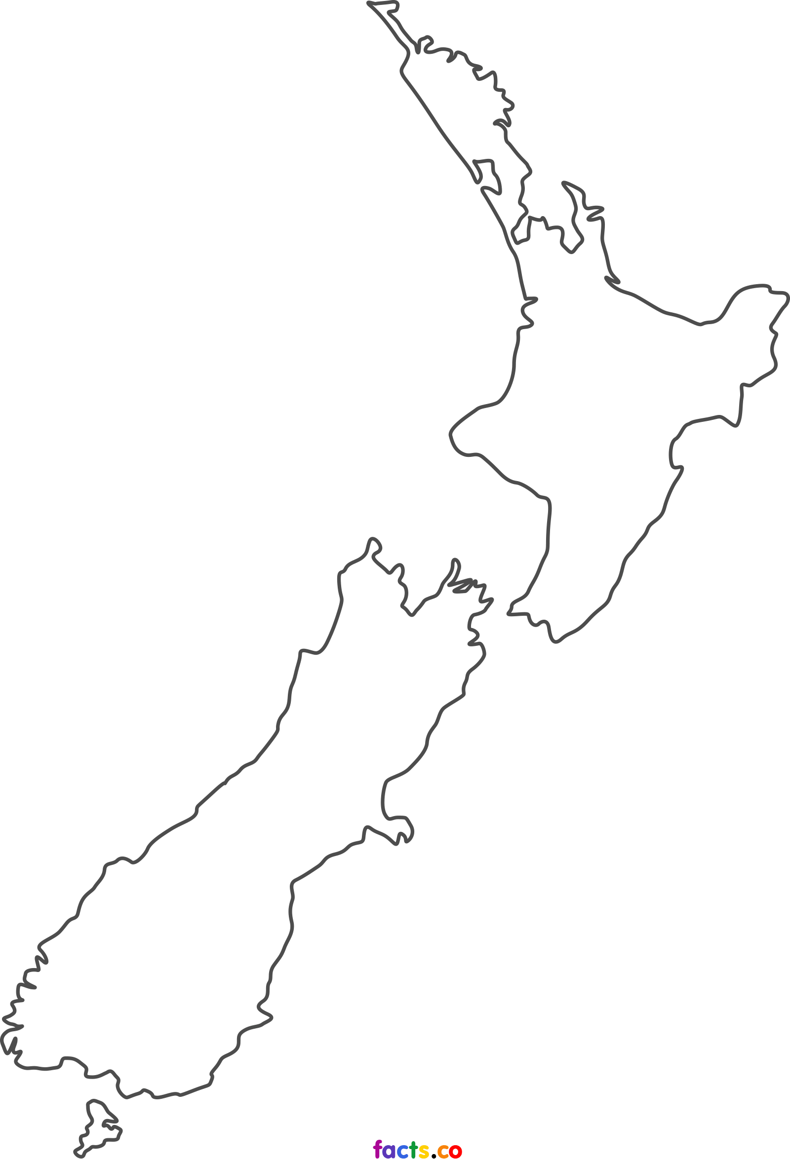 Blank drawing black and white. New zealand map political