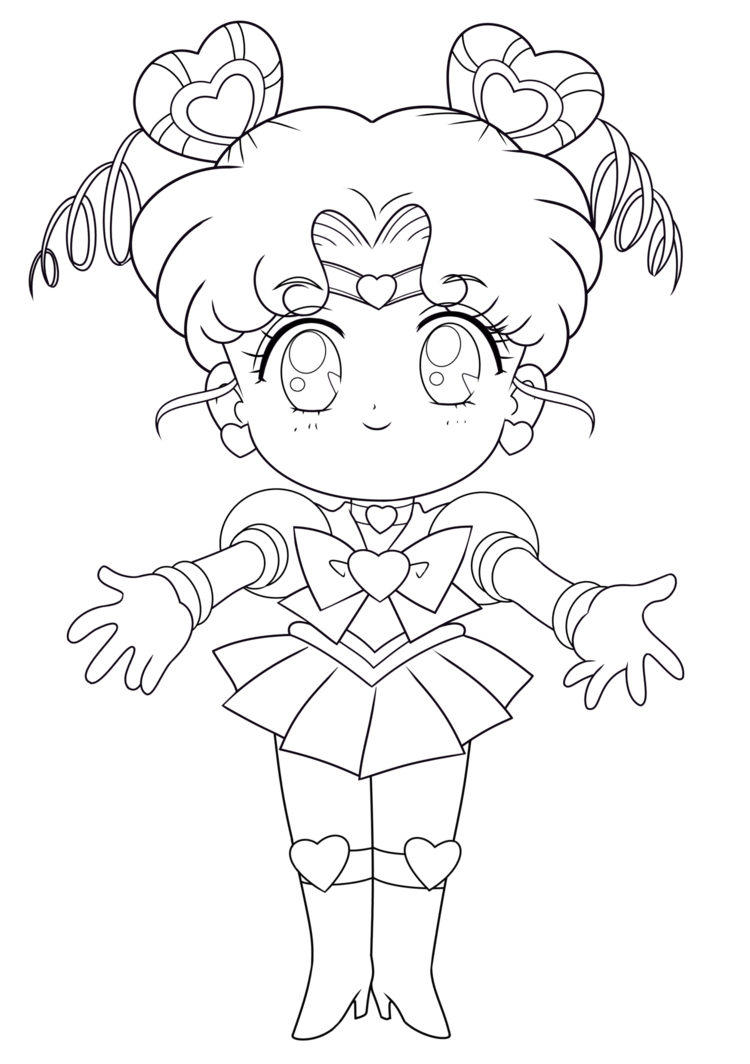 Blank drawing chibi. Line art sailor moon