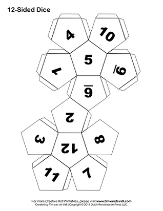 Blank drawing dice. Printable paper template pdf