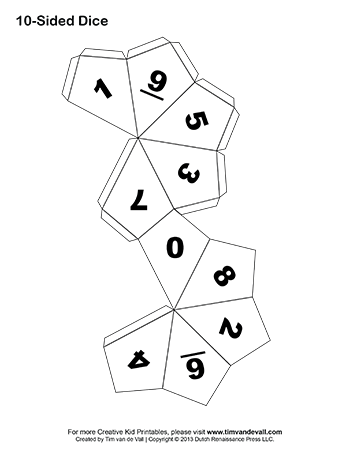 Blank drawing dice. Templates for making your