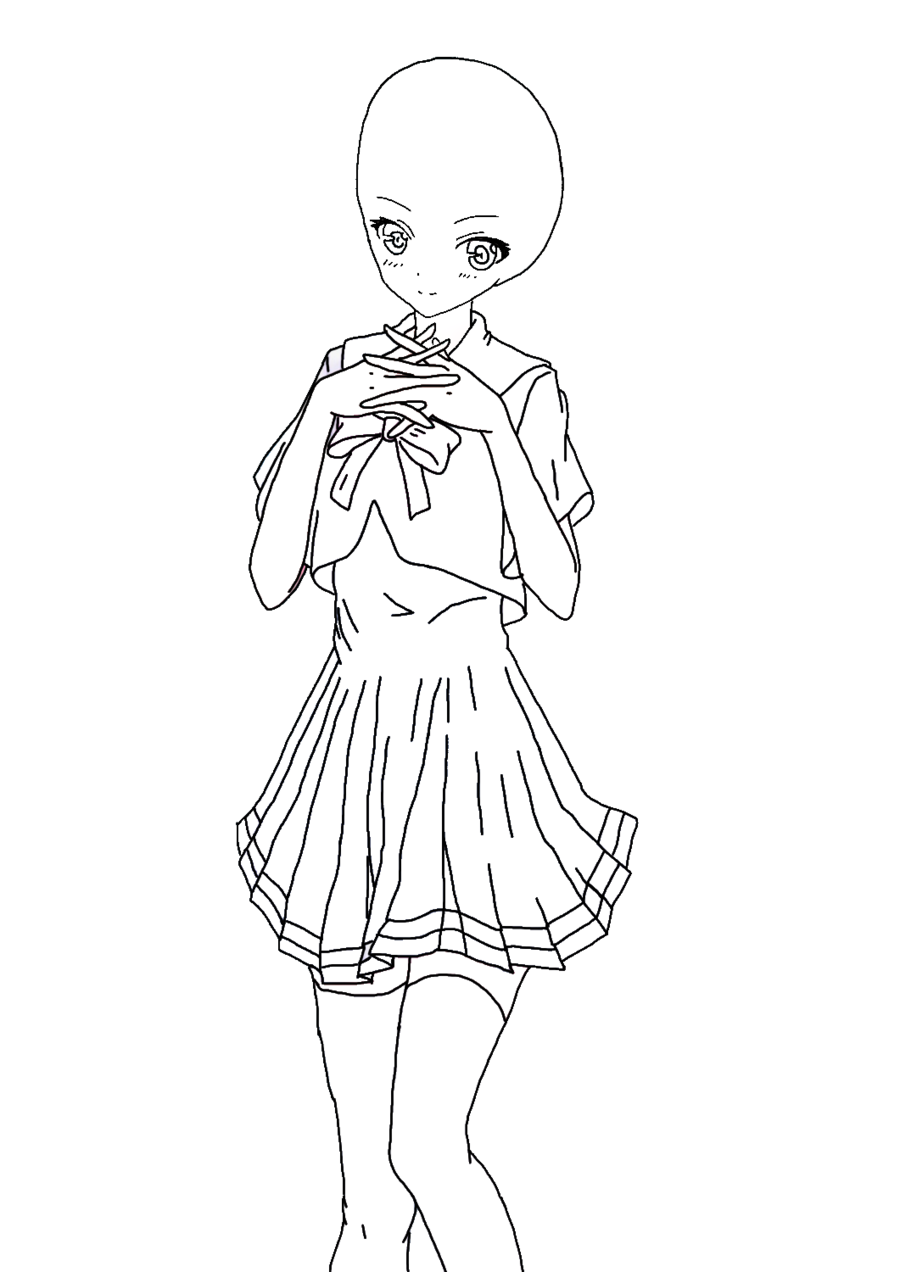 Blank drawing dress. Anime girl at getdrawings