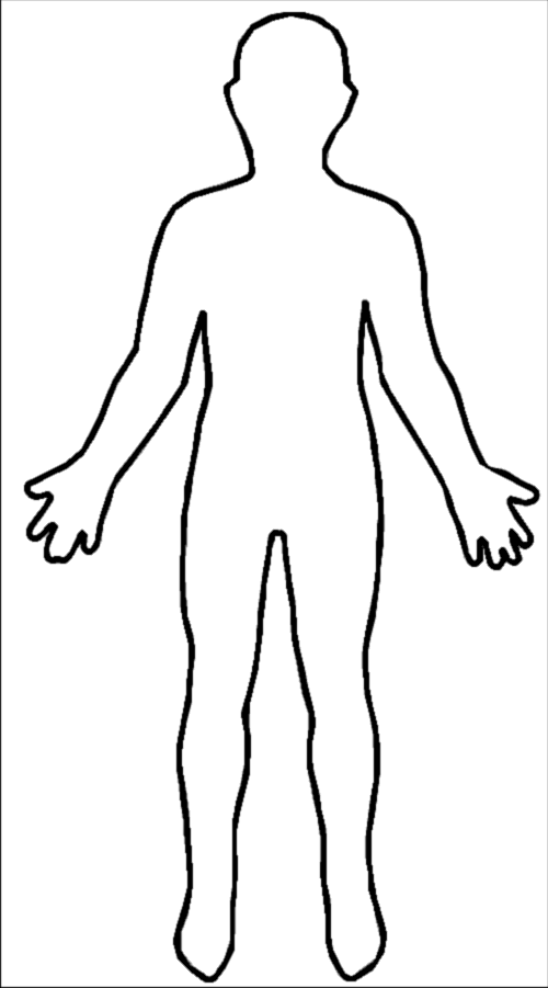 Blank drawing human figure. Outline of the body