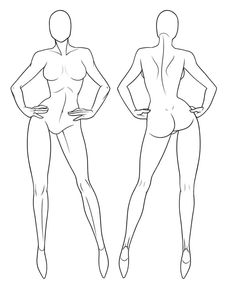 Drawing mannequins fashion model. Collection of free mannequin