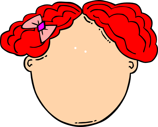 Blank face png. Red hair girl clip