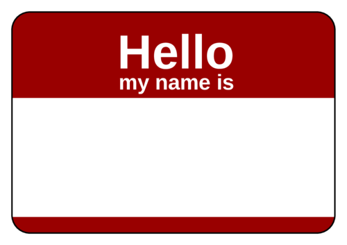 Hello my name is sticker png. X badges id