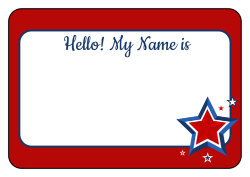Label clipart school label. Name tag templates hello