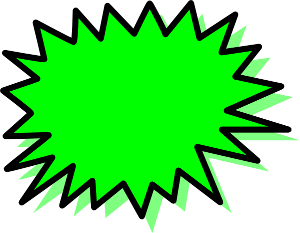 Package vector blank. Green explosion pow clip