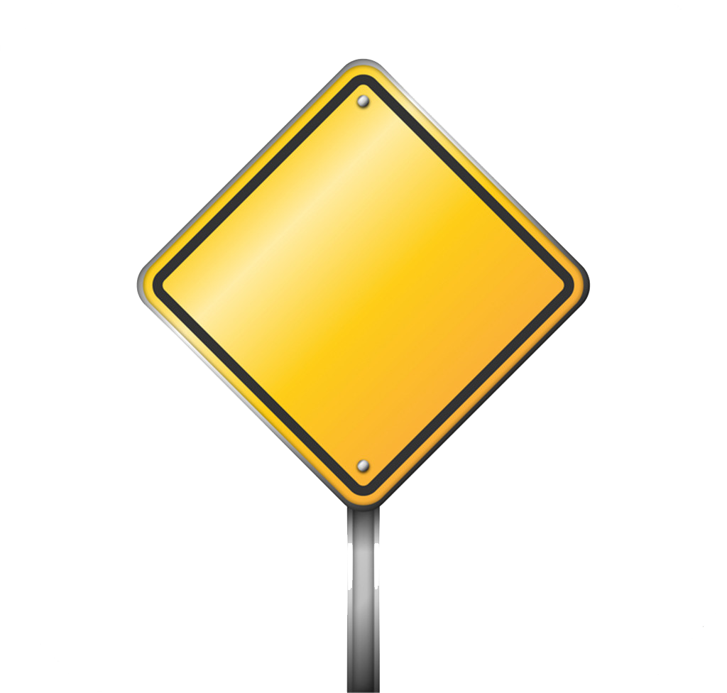 Blank road sign png. Traffic warning icon yellow