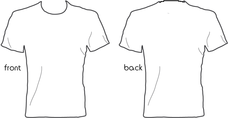 T shirt template png. Download white front back
