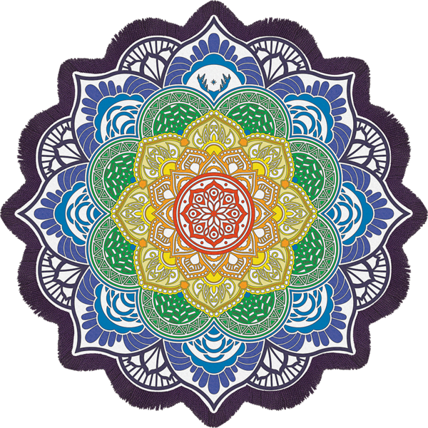 Blanket vector beach mat. Magic mandala towel and