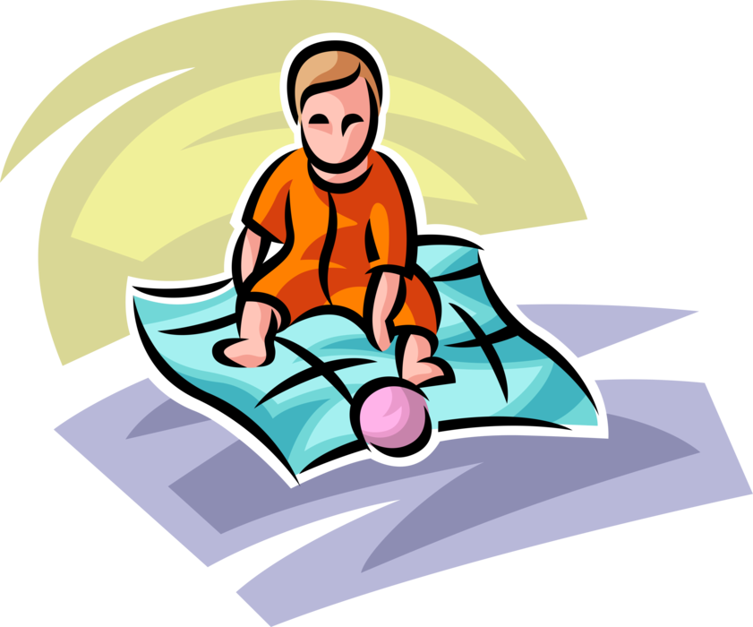 Blanket vector kid. Baby plays with ball