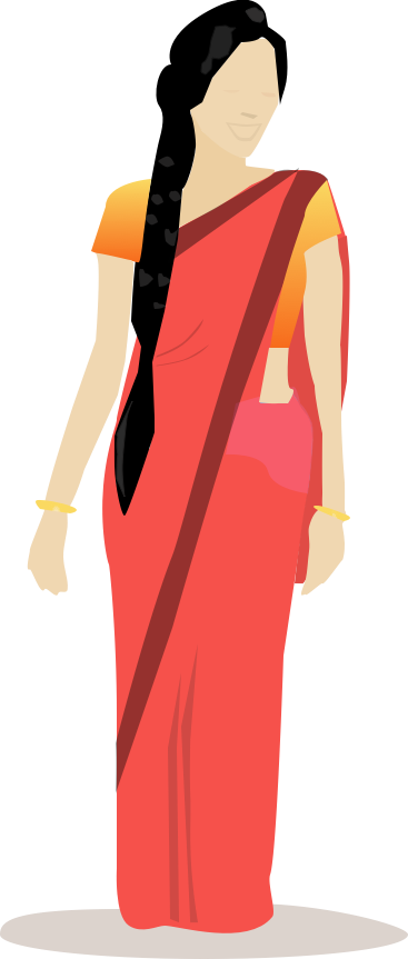 Vector clothes semi formal attire. Indian woman in saree