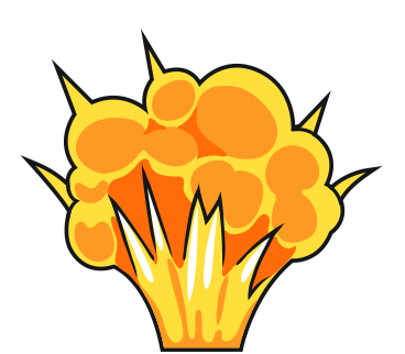 Blast vector cartoon gun. Collection of free exploded