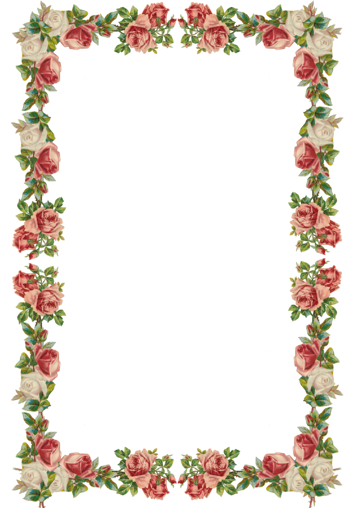 Bling border png. Free digital vintage rose