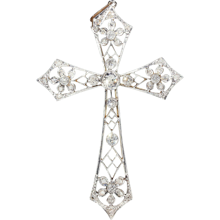 Bling cross png. Airy antique edwardian diamond