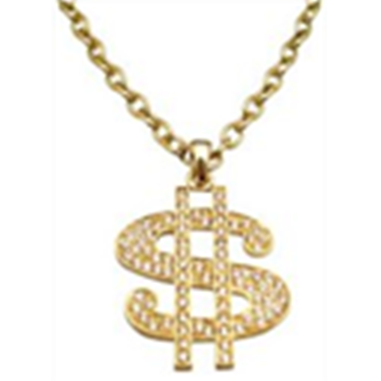 Dollar transparent gold chain. Sign pendant necklace bling