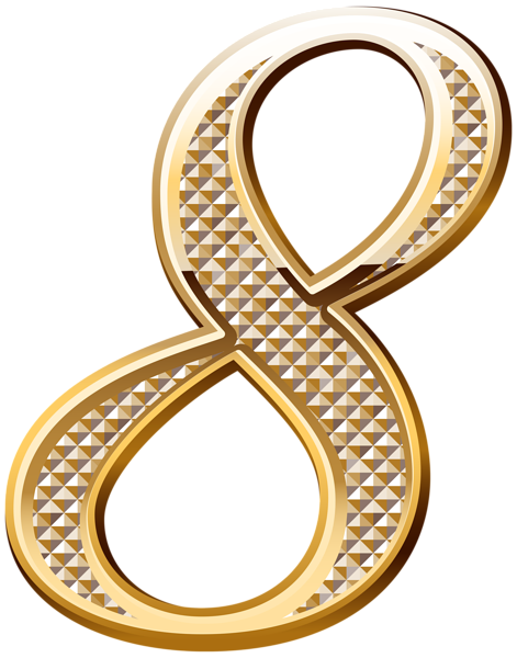 Gold numbers png. Deco number eight clipart