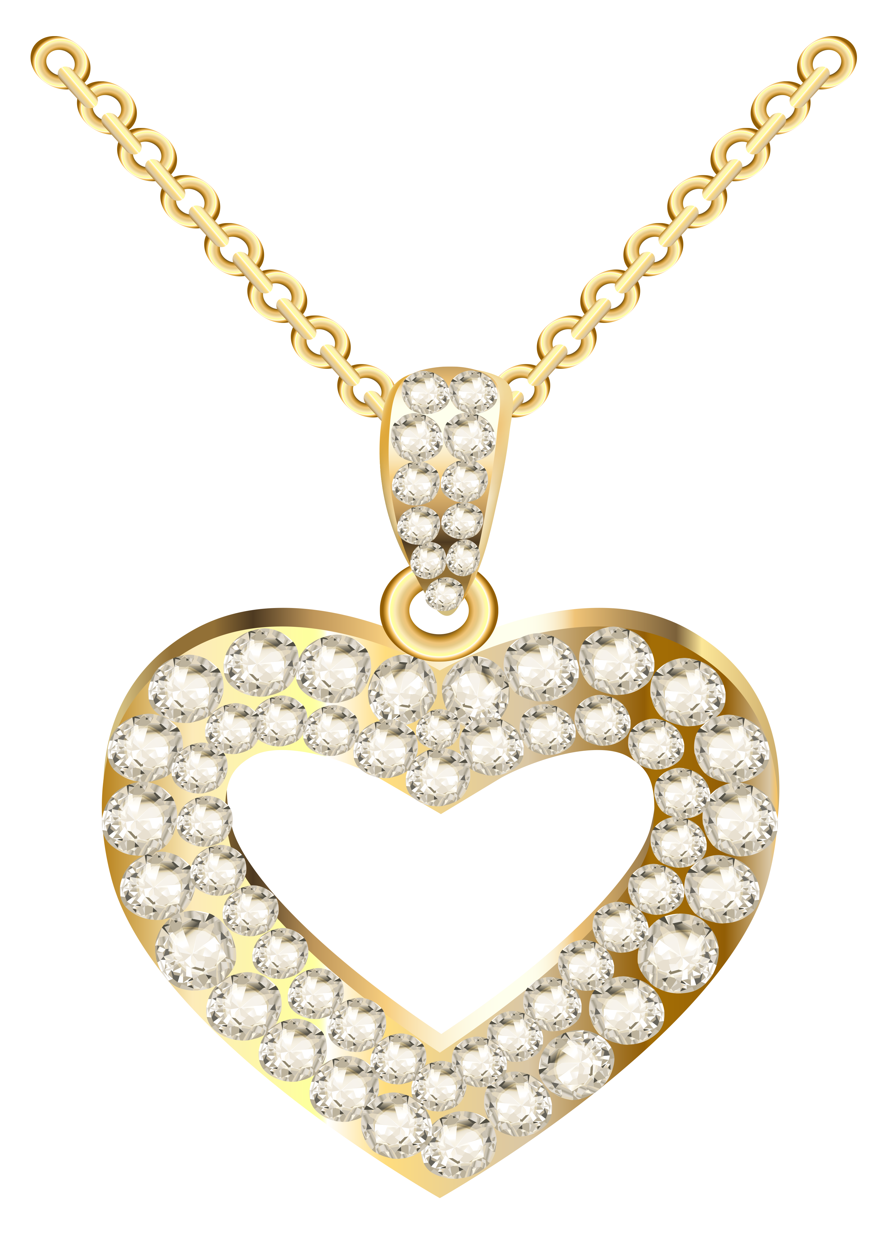 Bling png transparent. Golden heart necklace with