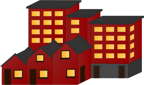 Block of flats. Vector illustration red houses