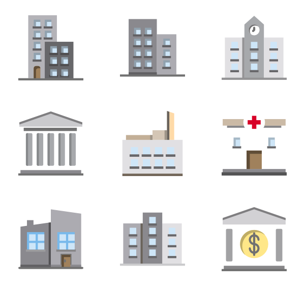 Vector office kantor. Block icons free building