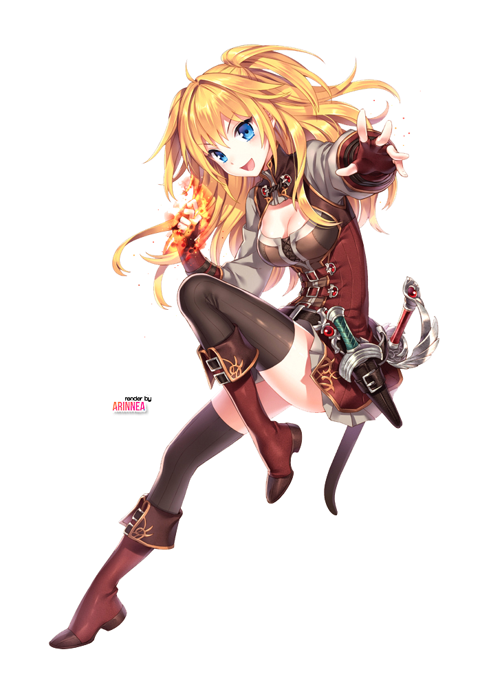 Girl with blonde hair. Airship drawing anime transparent stock