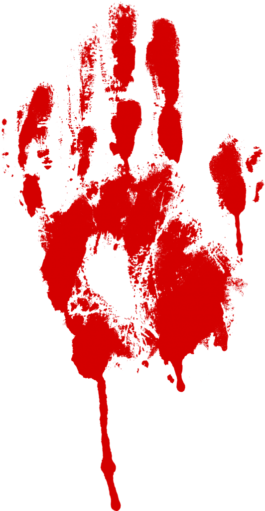 Blood hands png. Red bloody handprint