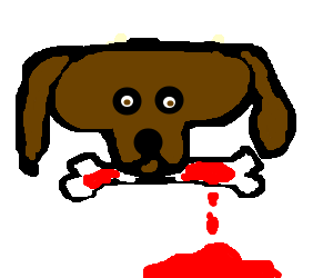 Bloody bone png. Dog with fat head