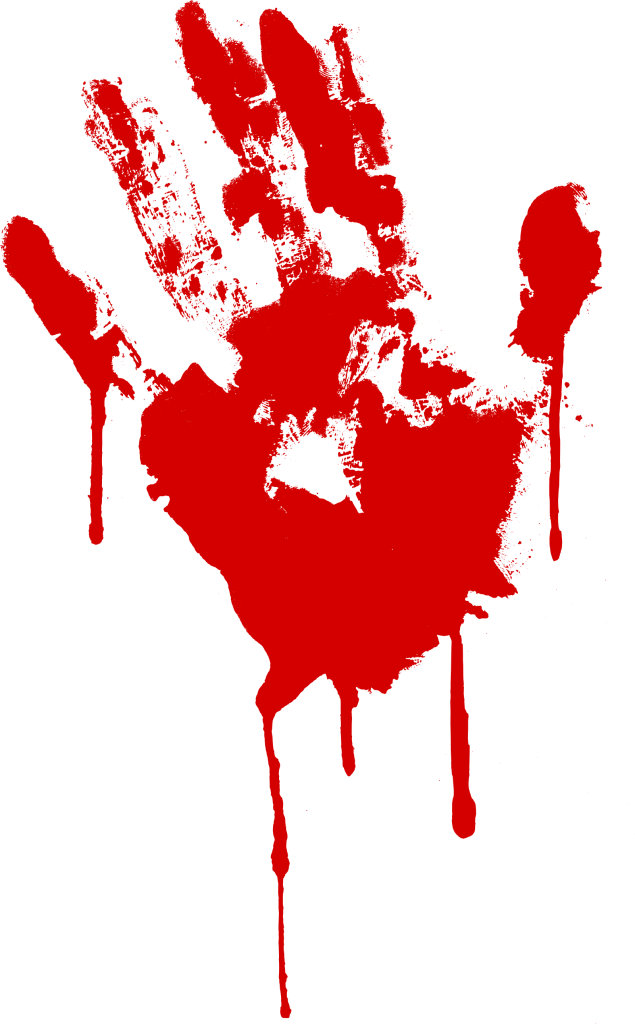 Transparent 5 red. Bloody handprint png