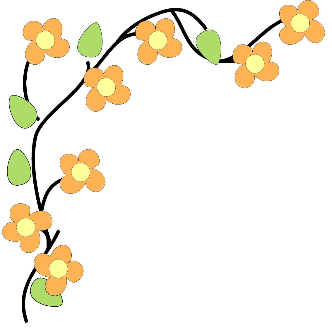Blossom clipart border design. Free cliparts flower download