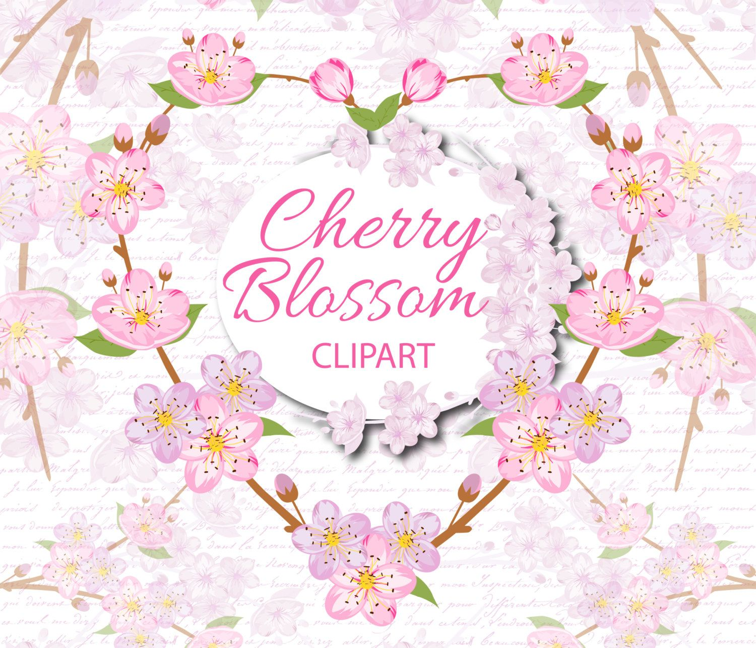 Blossom clipart cute. Cherry sakura romantic planner