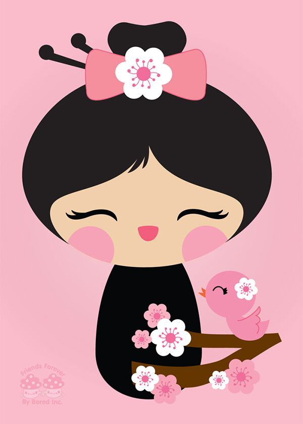 Blossom clipart kawaii. Kokeshi cherry stitch n