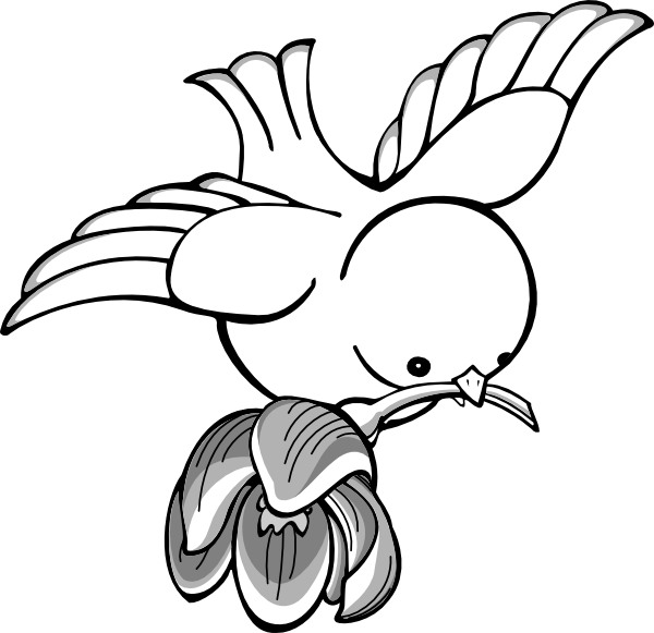 Blossom drawing bird. Clipart flying with flower
