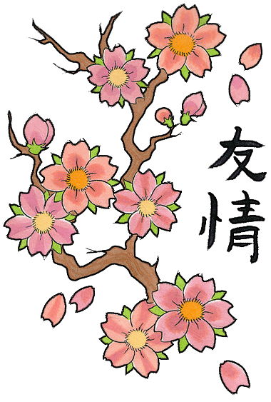 Blossom drawing traditional. Cherry tattoos high quality