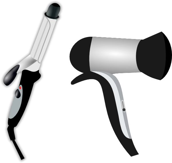 Blow dryer clipart. Hair iron and clip