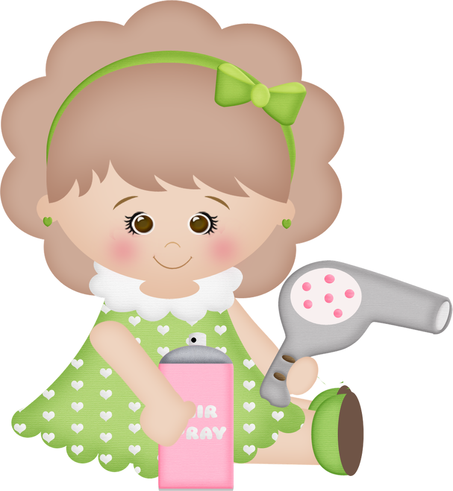 Designer drawing little girl. With hair dryer and