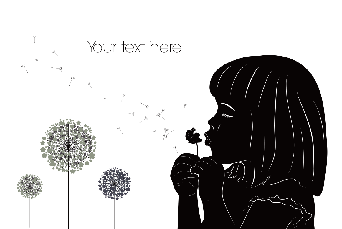 Blowing dandelion png. Silhouette girl drawing illustration