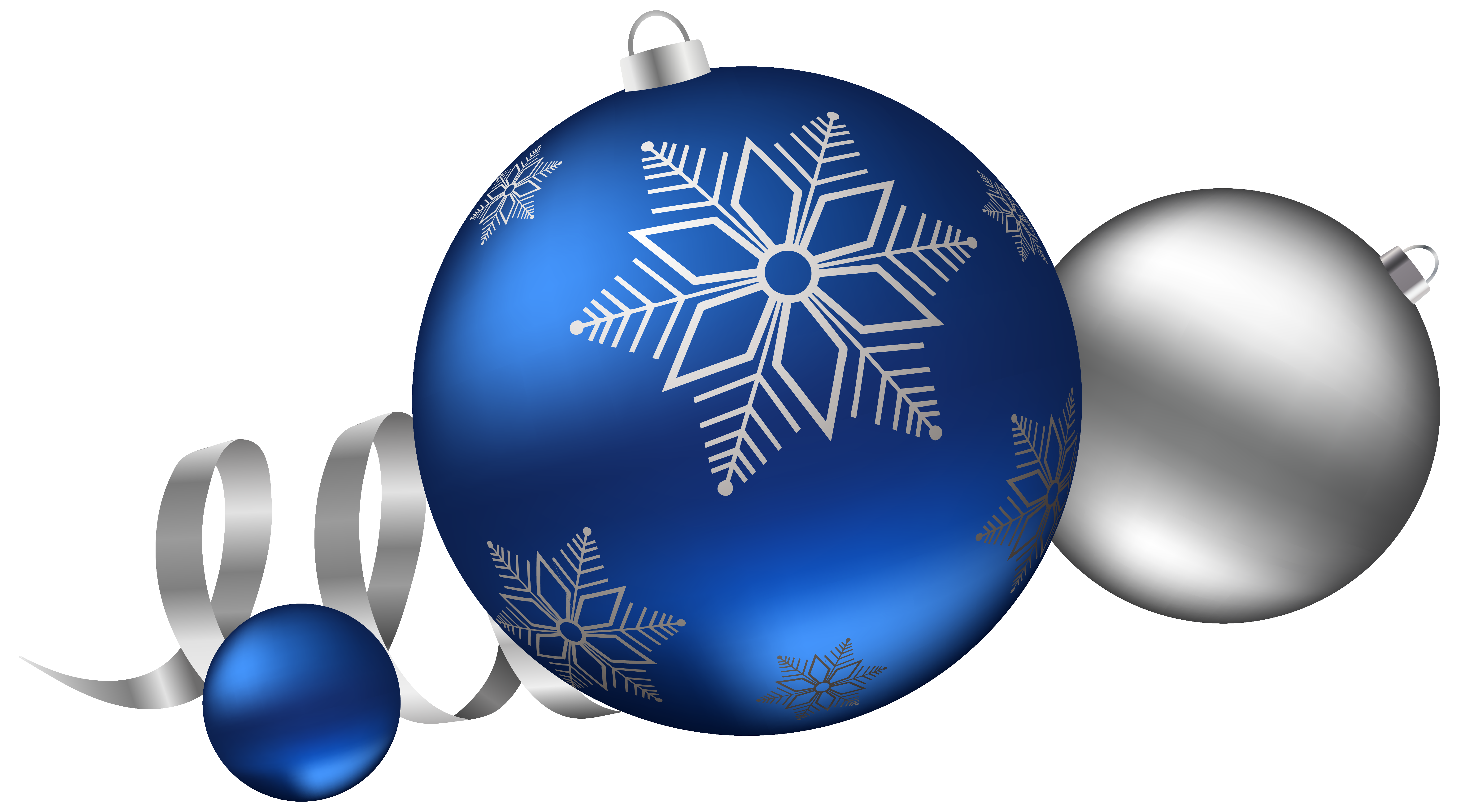Blue and silver ornaments png. Christmas balls decoration clipart