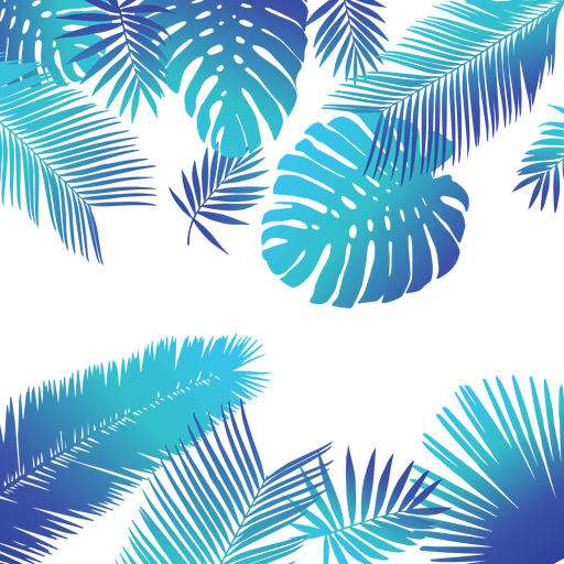 Blue background png. Tropical leaves transparent svg